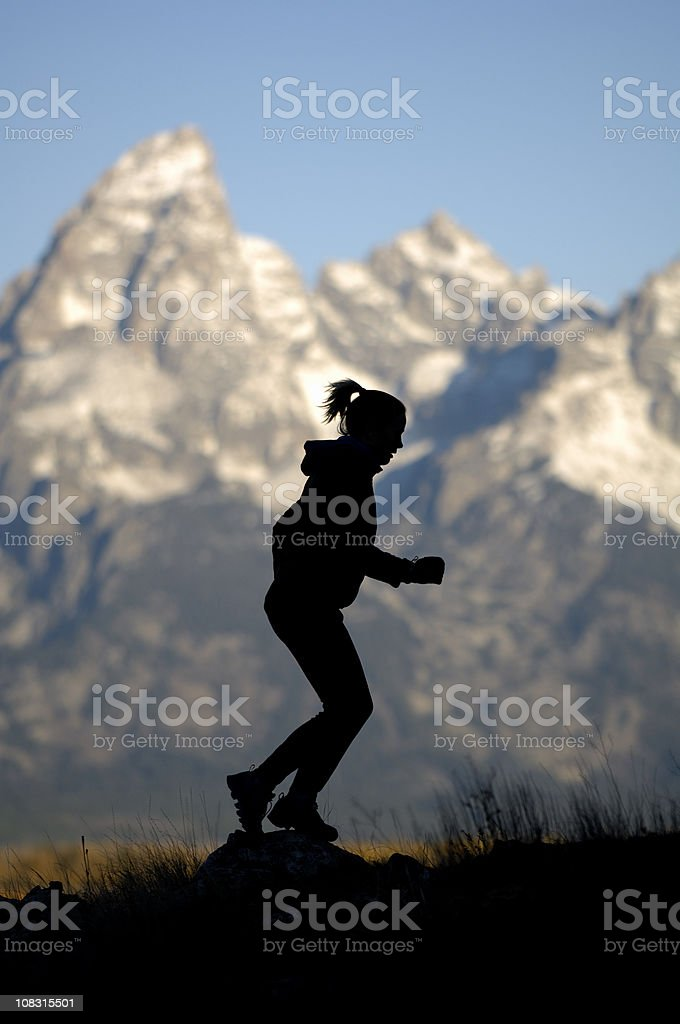 Early morning run in the Tetons stock photo