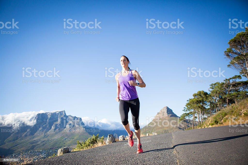 Early morning running stock photo