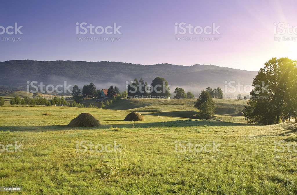 early morning rural landscape royalty-free stock photo
