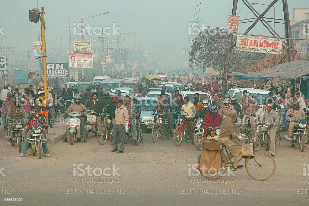 Early morning Rush hour, New Delhi stock photo