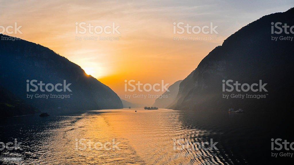Early Morning Scene, Yangtze River, Xiling Gorge, Hubei, China stock photo