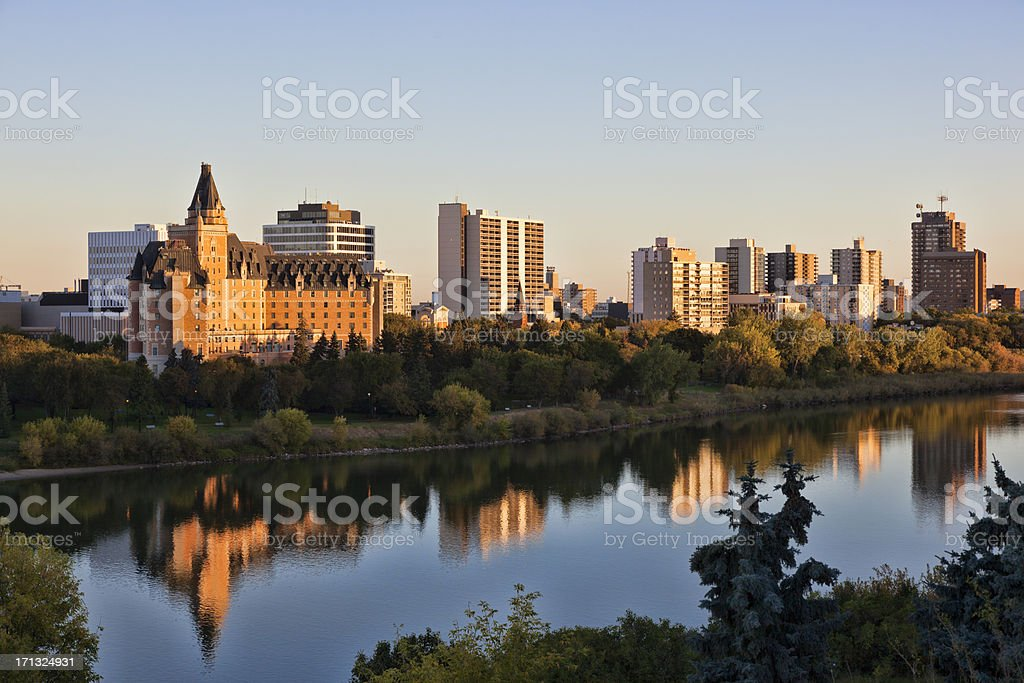 Early Morning Skyline in Saskatoon stock photo