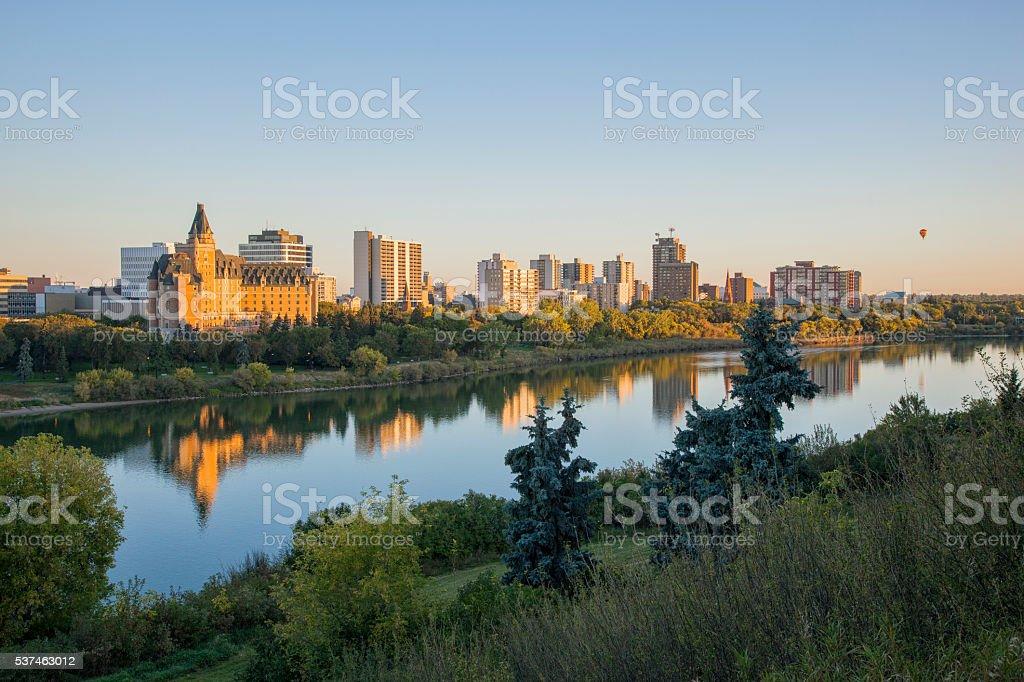 Early Morning Skyline in Saskatoon With Hot Air Ballon stock photo