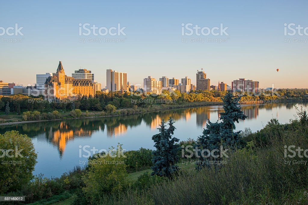 Early Morning Skyline in Saskatoon With Hot Air Ballon stock photo