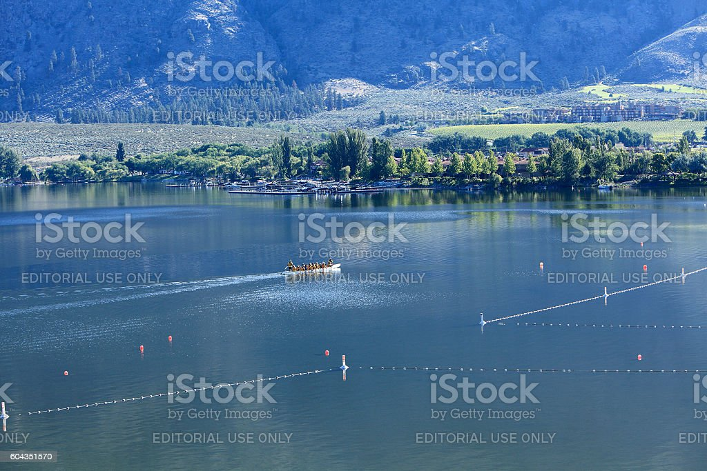 Early Morning Stillness,Rowing,And Nature On The Lake stock photo