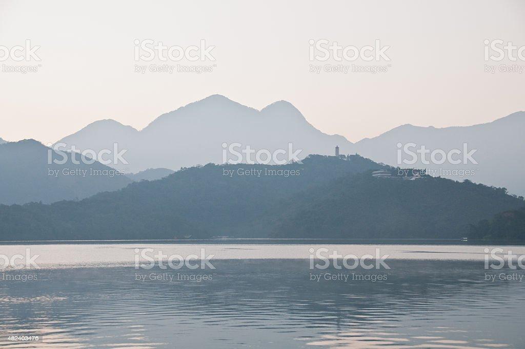 Early morning Sun Moon Lake Taiwan stock photo