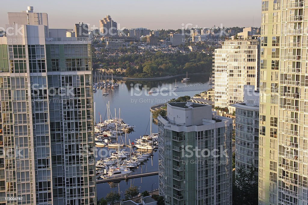 Early Morning Sunlight False Creek Vancouver royalty-free stock photo