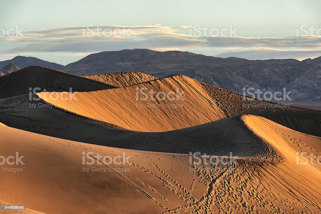 Early morning sunlight on the Mesquite Flat Sand Dunes stock photo