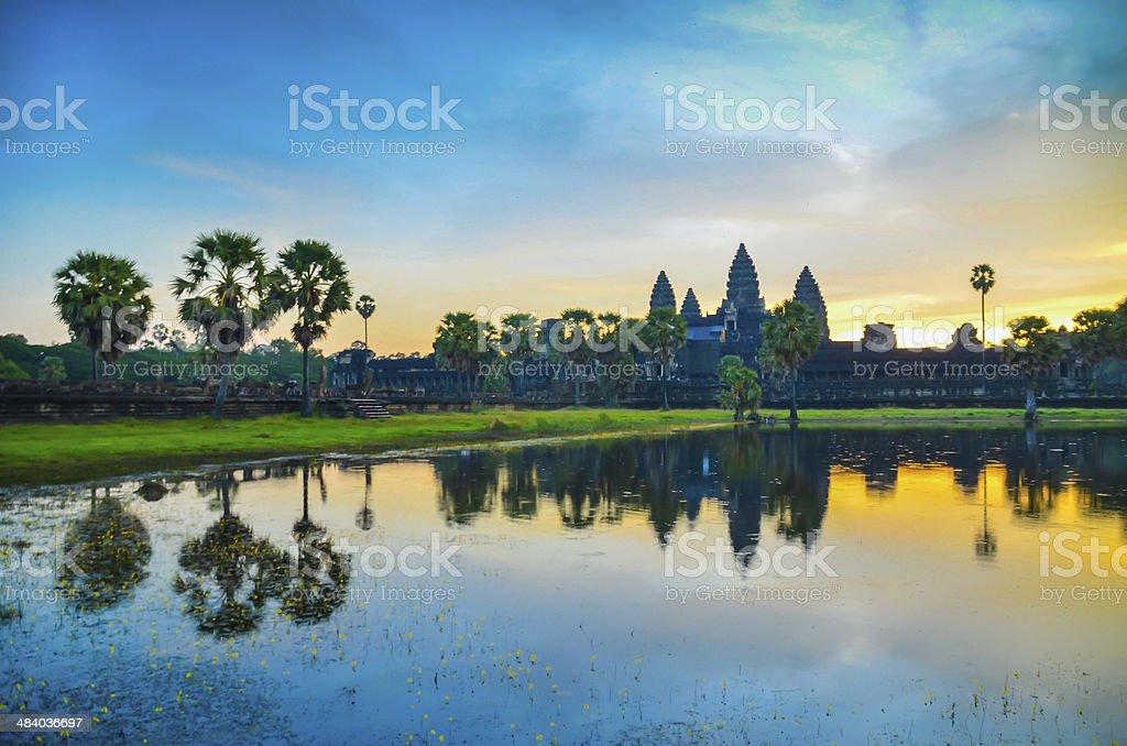 Early morning sunrise and reflection, Angkor Wat Cambodia. stock photo