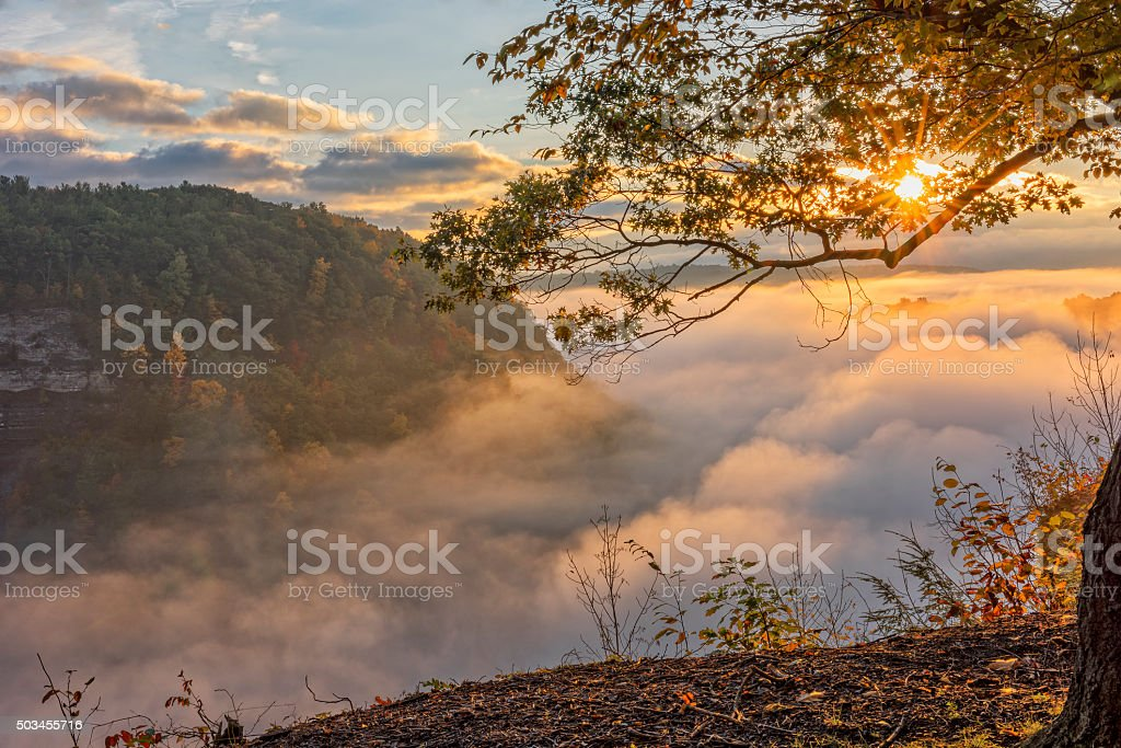Early Morning Sunrise At Letchworth State Par stock photo