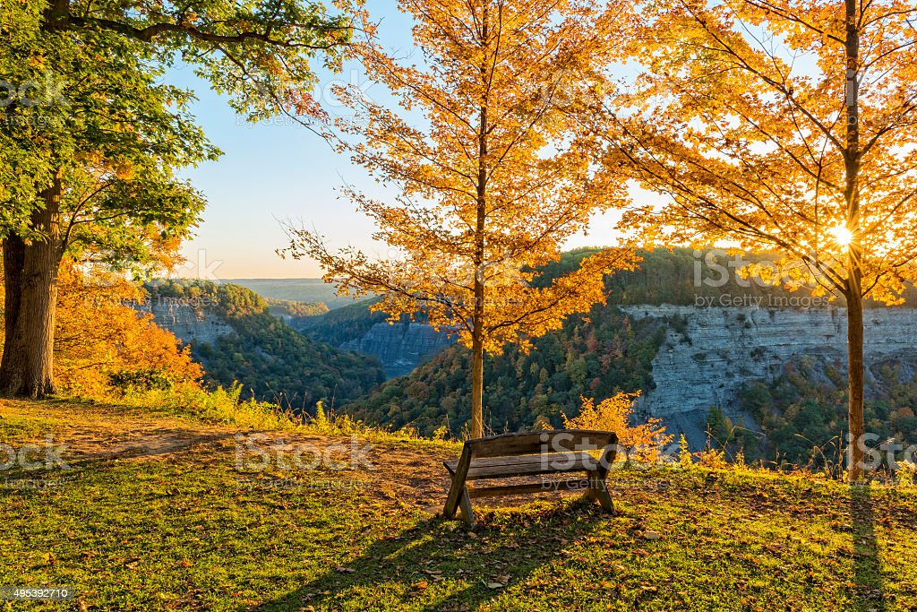 Early Morning Sunrise At Letchworth State Park stock photo
