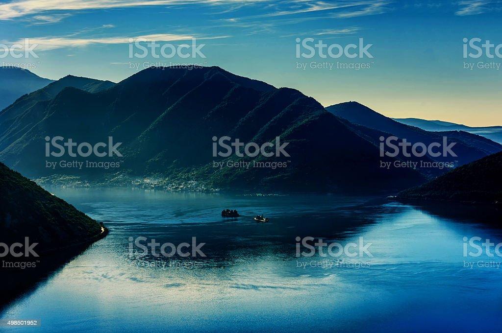 Early morning sunrise in Bay of Kotor, Perast, Montenegro stock photo