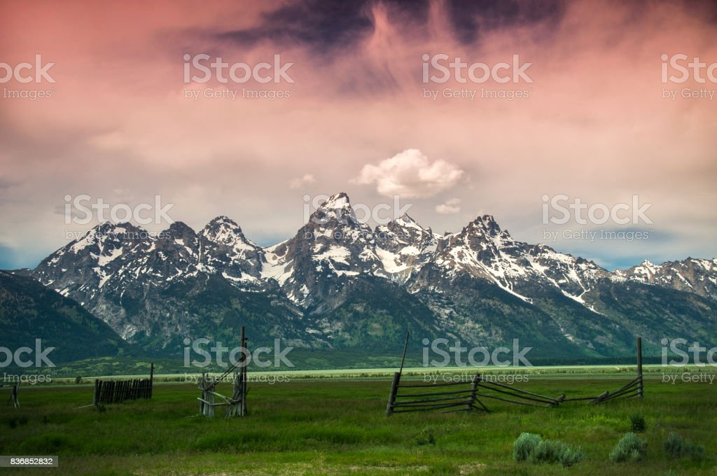 Early morning sunrise over Grand Teton stock photo
