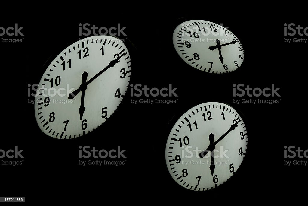 early morning - time with three clocks royalty-free stock photo