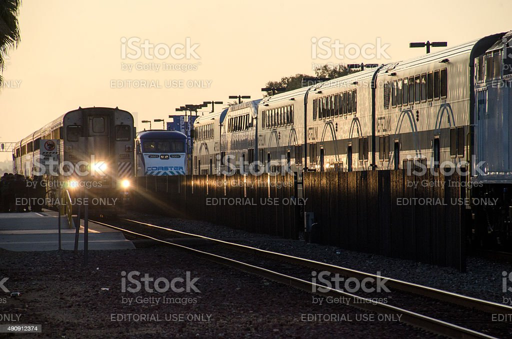 Early Morning Train Commute stock photo