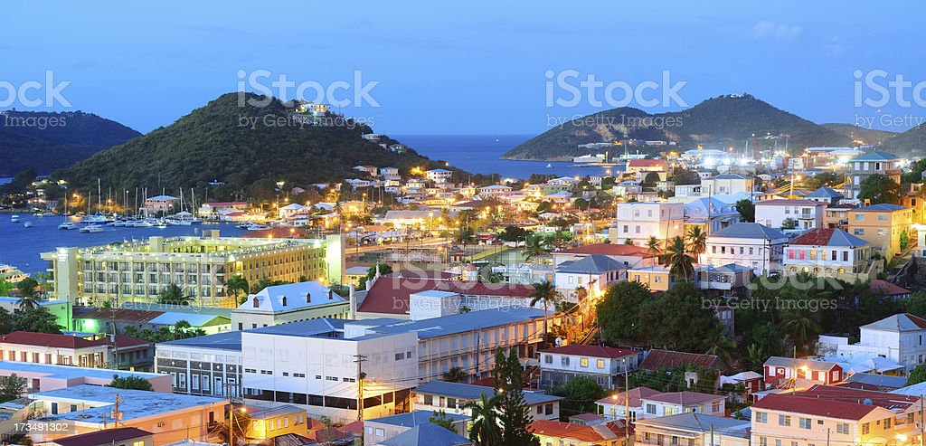 Early morning view from the mountain top of St Thomas royalty-free stock photo
