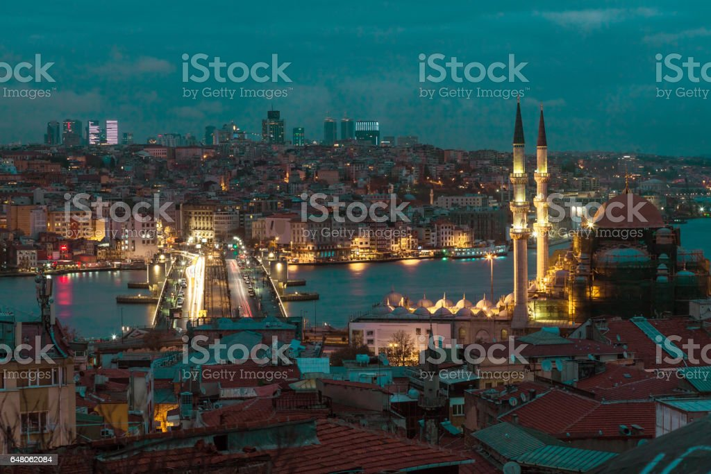 Early Morning View of Business and Historical Districts of City stock photo