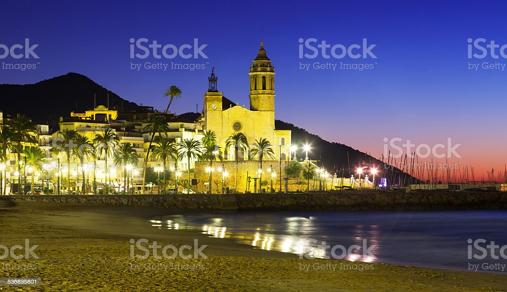 Early morning view of  church at Sitges stock photo