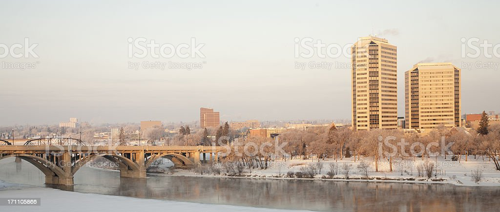 Early Morning View of Downtown Saskatoon in Winter royalty-free stock photo