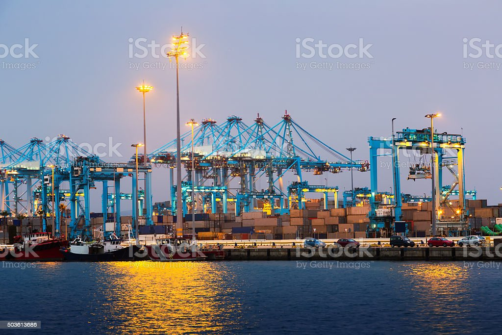 Early morning view of  Port of Algeciras stock photo
