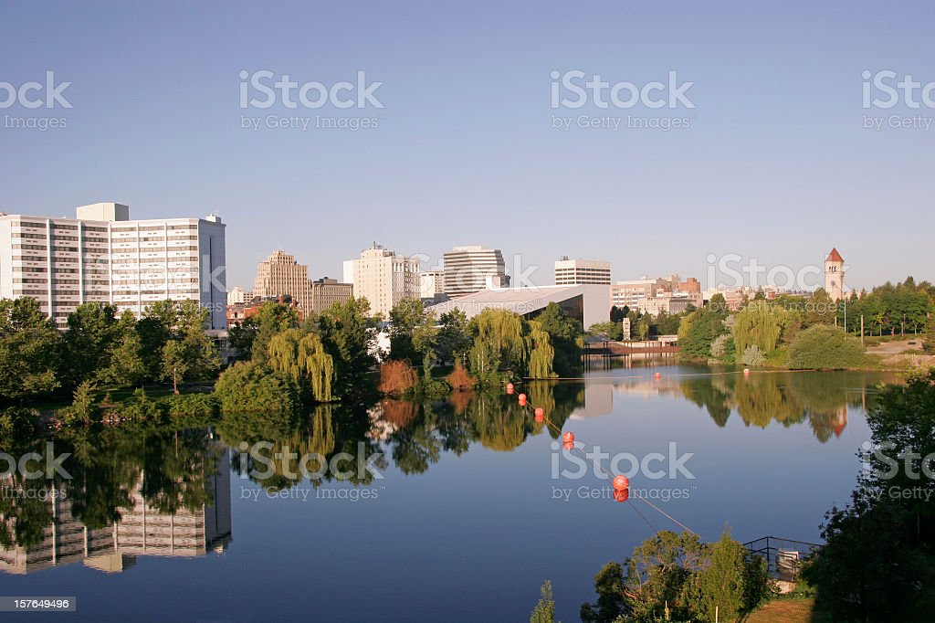 Early Morning View Of Spokane Washington Skyline stock photo