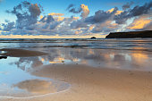 Early morning view of the beach at Polzeath