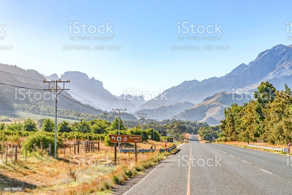 Early morning view of the road between Tulbach and Ceres stock photo