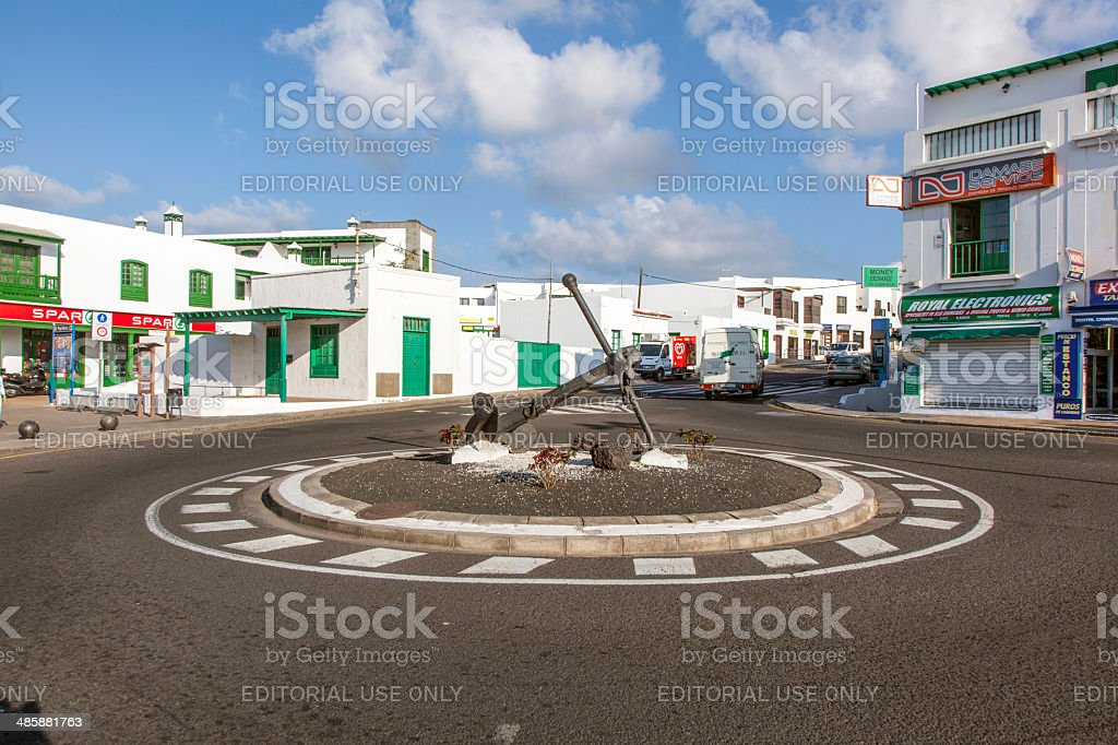 early morning view to the new roundabout with ancor stock photo