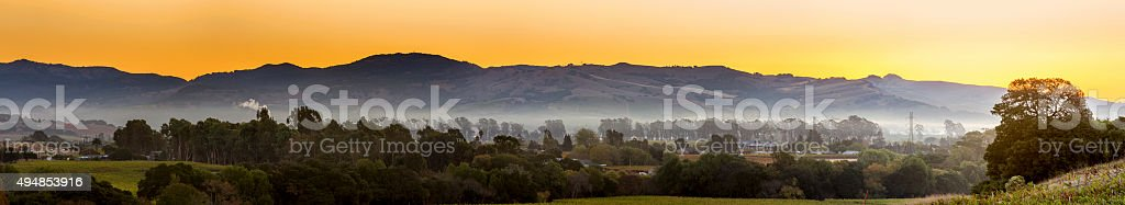 Early Morning Vineyard and town in Napa Valley California stock photo