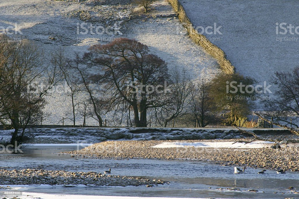Early morning winter English countryside, Yorkshire royalty-free stock photo