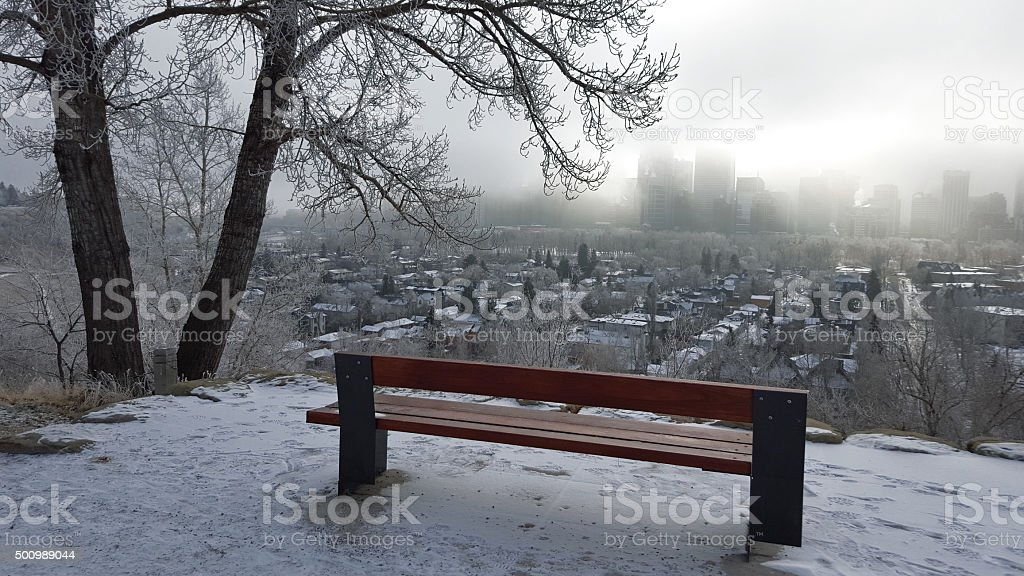 Early Morning Winter Fog Over City stock photo
