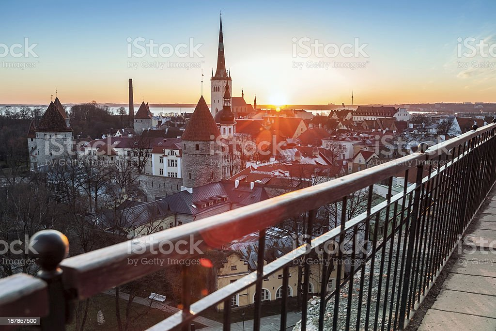 Early morning with rising sun in old town of Tallinn royalty-free stock photo