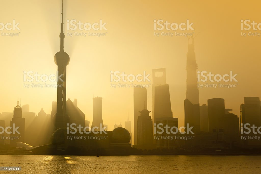 Early morning with skyline of Shanghai China royalty-free stock photo