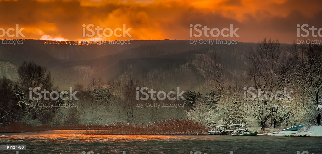 Early morning with the first snow. stock photo