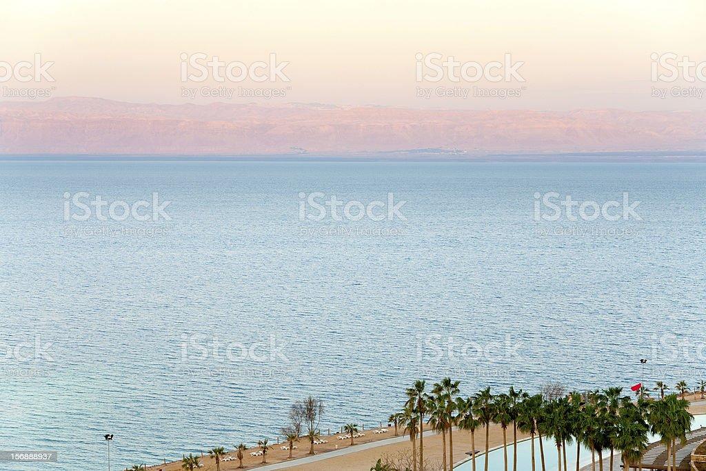 early pink sunrise on Dead Sea coast royalty-free stock photo