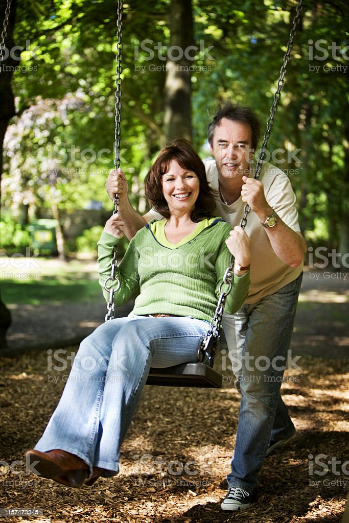 early retirement: on the swings royalty-free stock photo