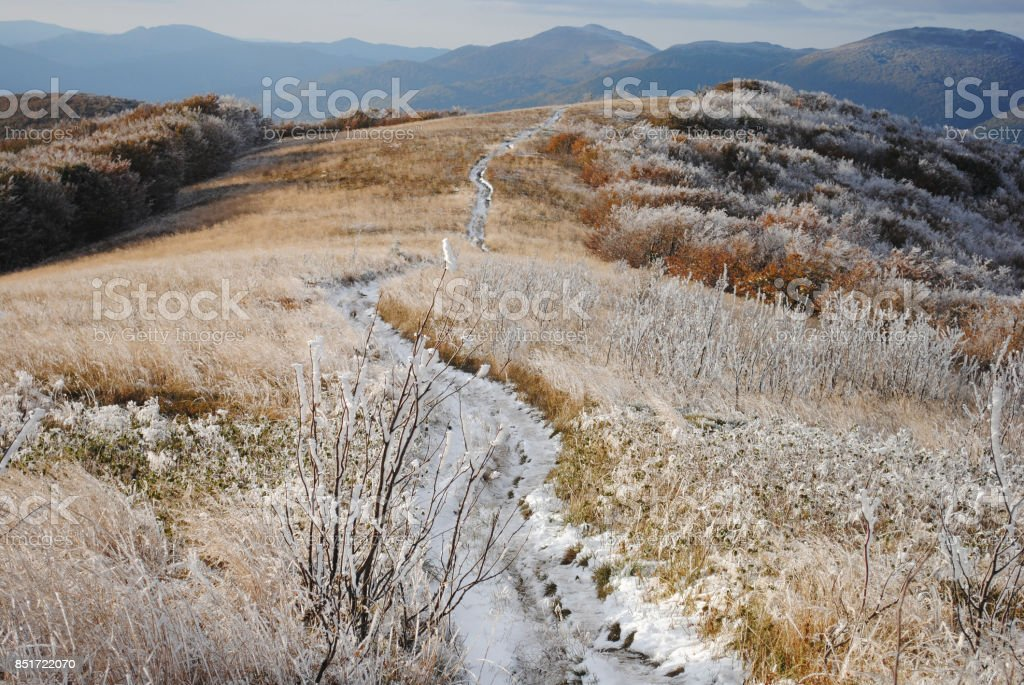 Early snow in the fall. Bieszczady. Poland. stock photo