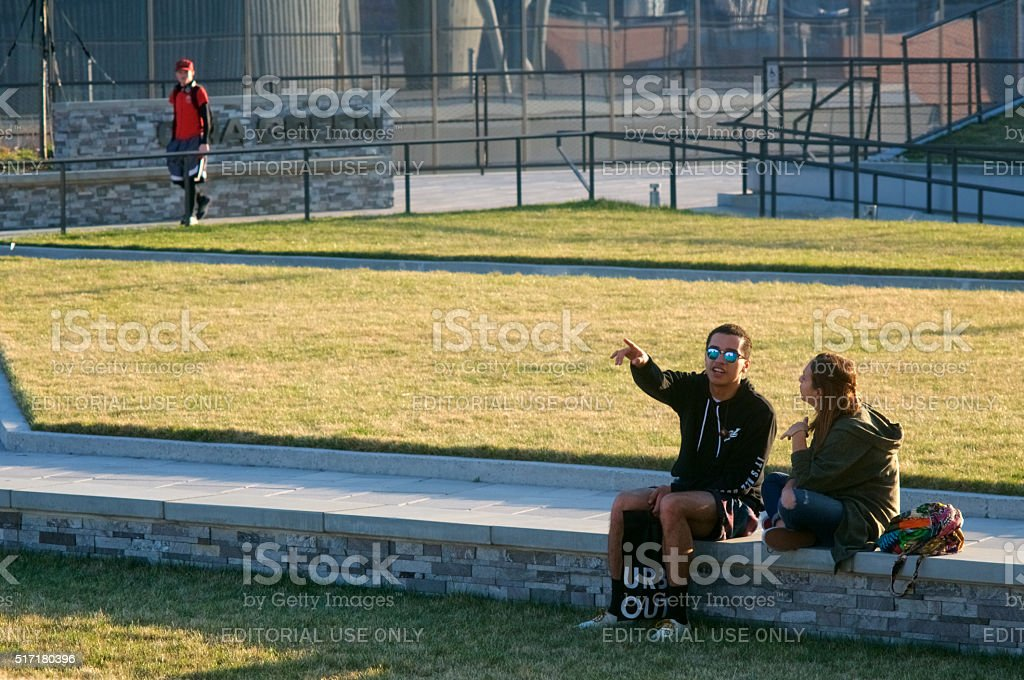 Early Spring at Public Rooftop Park in Philadelphia stock photo