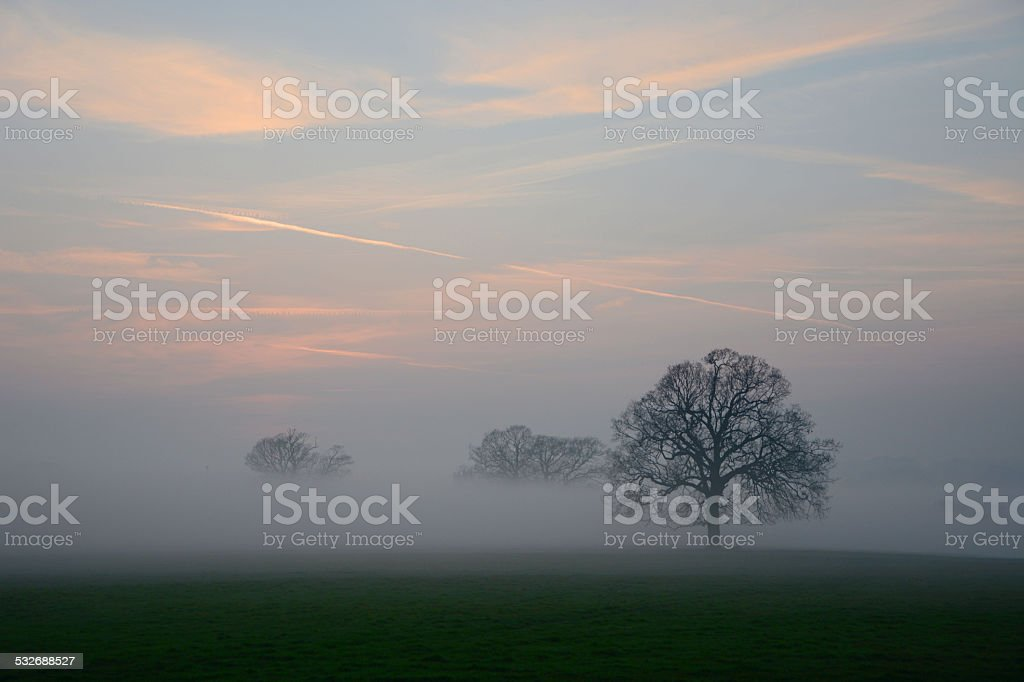 Early Spring English Sunset and Mist stock photo