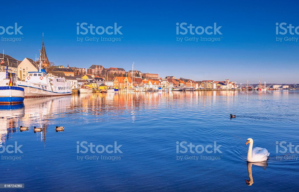 Early Spring morning in Flensburg stock photo