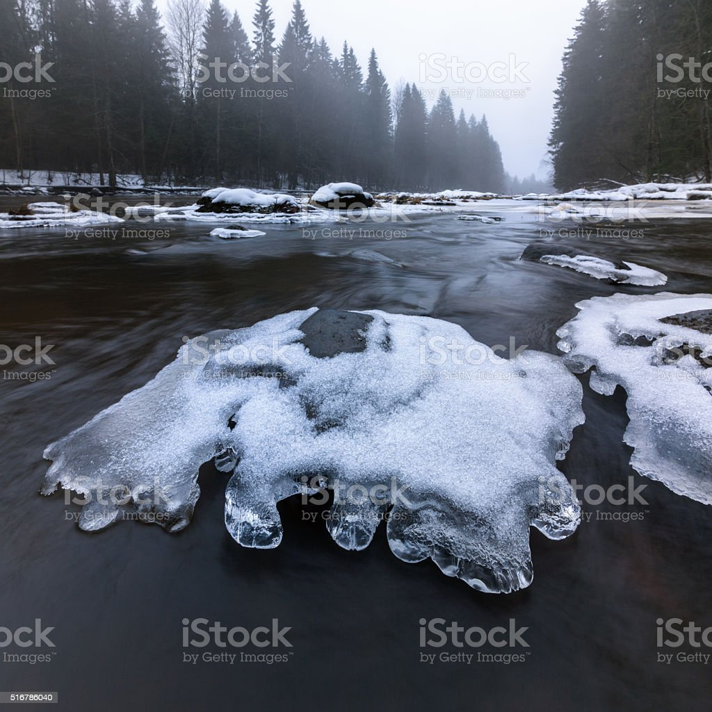Early spring on the river, last ice stock photo