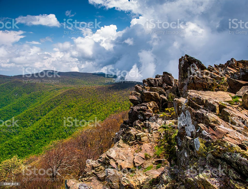 Early spring view from cliffs on Hawksbill Summit, Shenandoah Na stock photo