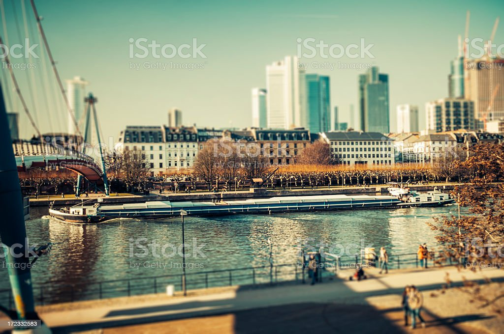 Early springtime at the river - Frankfurt am Main stock photo