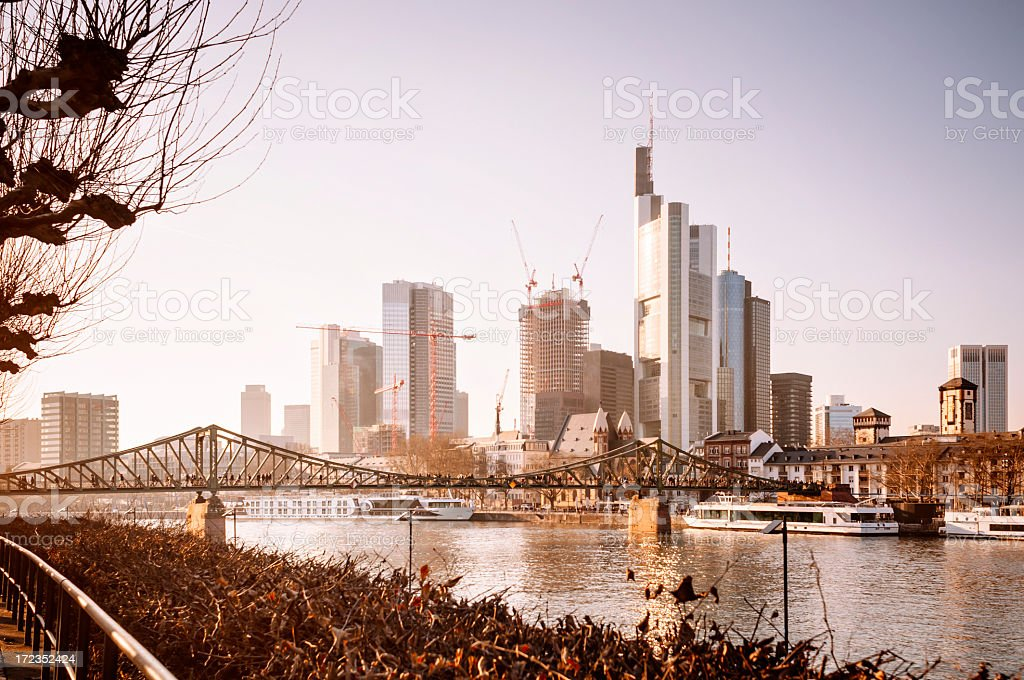 Early springtime at the river - Skyline of Frankfurt royalty-free stock photo