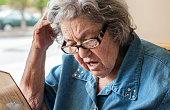 Early Stage Dementia Elderly Woman Reading Restaurant Menu