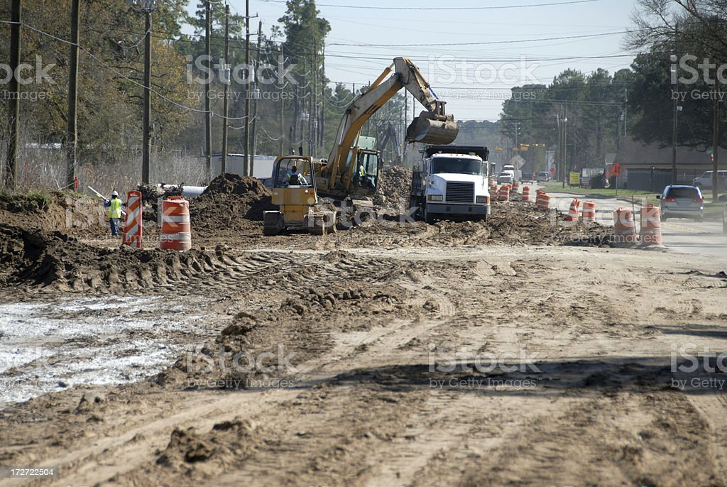 Early Stage Of Road Construction- Excavation royalty-free stock photo