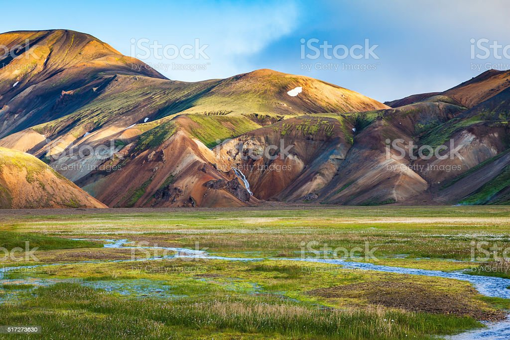 Early summer morning in the Landmannalaugar, Iceland stock photo