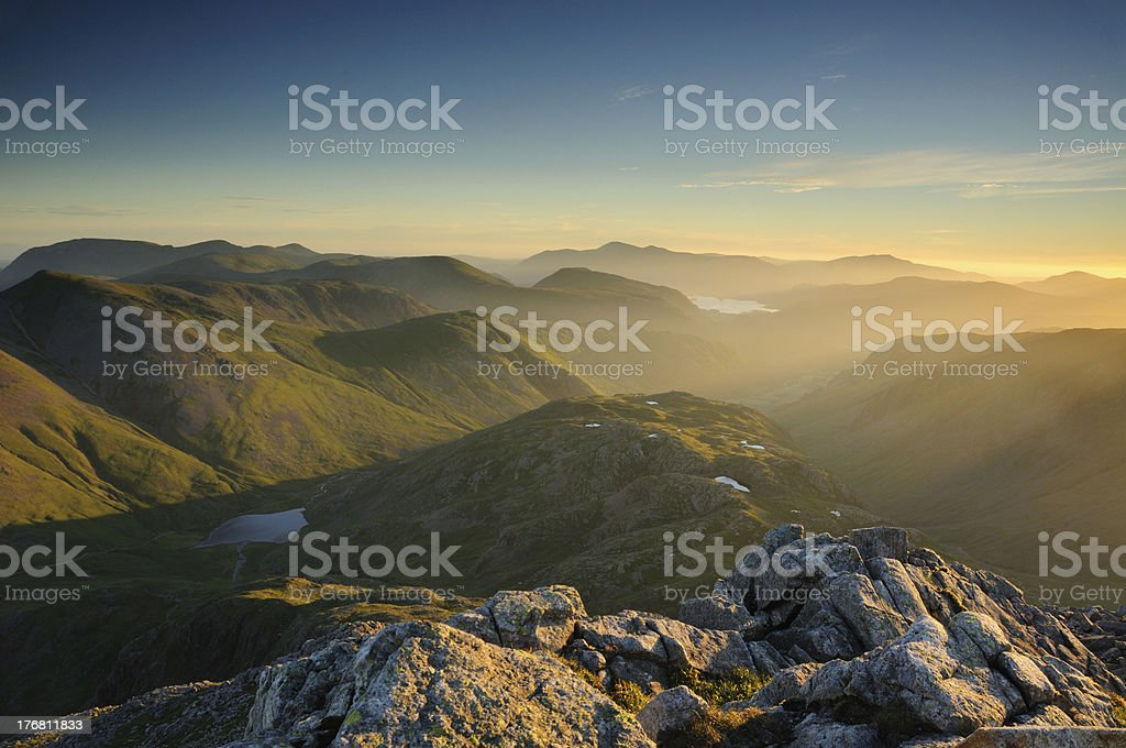 Early summer sunlight, English Lake District mountains royalty-free stock photo