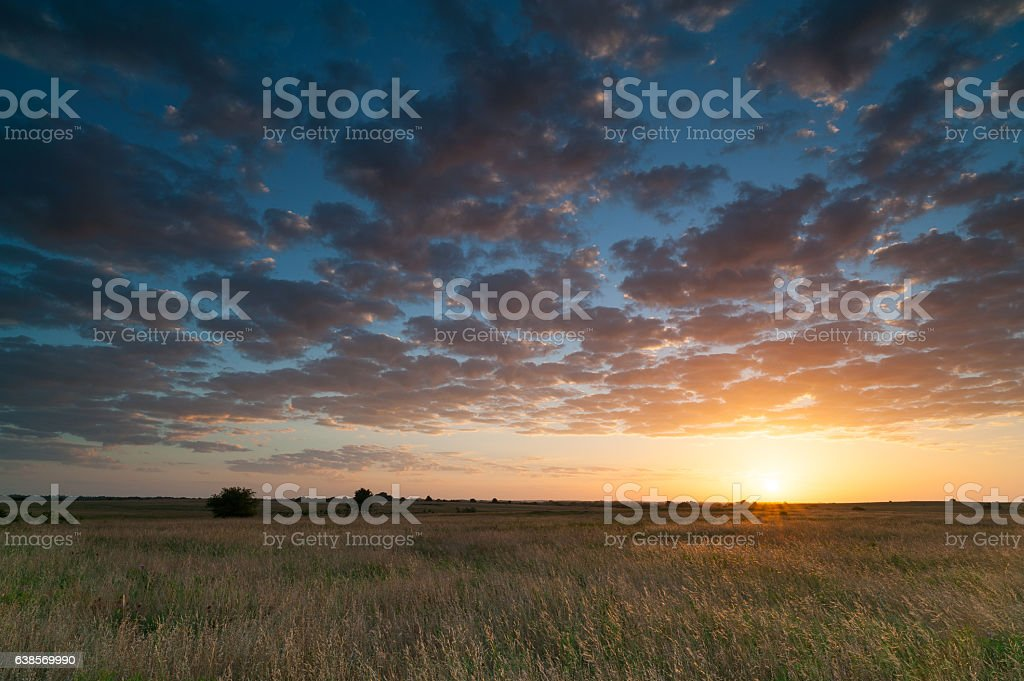 Early Summer Sunrise, Clouds, Grass, Oklahoma stock photo