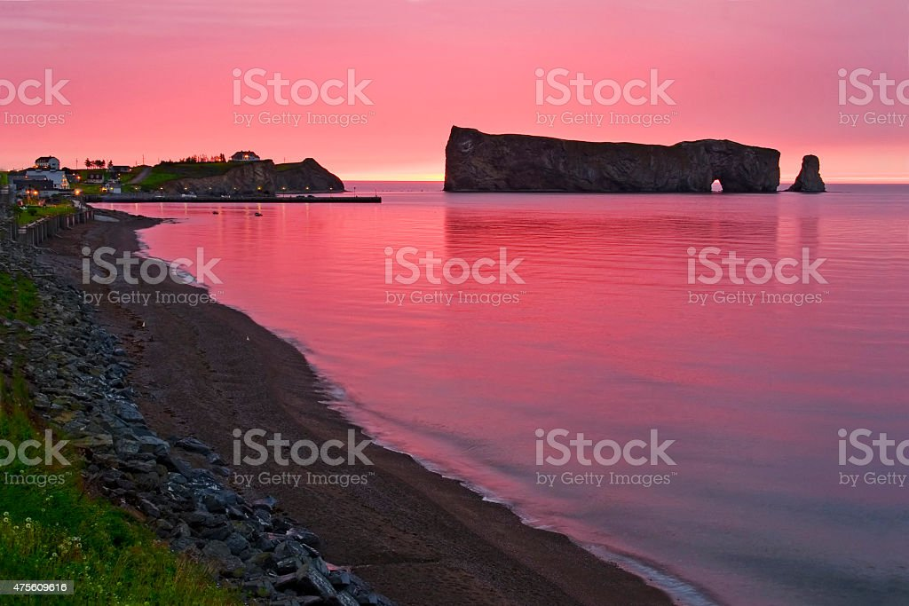 Early sunrise at Perce Rock in Gaspe stock photo